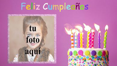Photo of marco de fotos de feliz cumpleaños con pastel de m y m