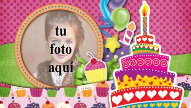 Tarjeta De Feliz Cumpleaños Con Pastel Marcos para fotos 390x220 - Tarjeta De Feliz Cumpleaños Con Pastel Marcos para fotos