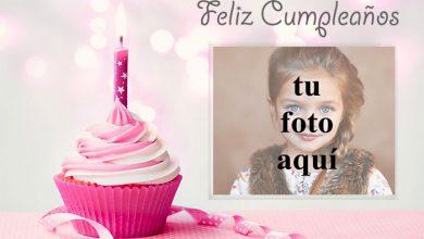feliz cumpleaños marco de fotos rosa con pastel pequeño 390x220 - feliz cumpleaños marco de fotos rosa con pastel pequeño