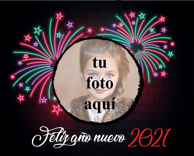 Feliz ano nuevo 2021 marco de fotos de luz de neon - Feliz año nuevo 2021 marco de fotos de luz de neón